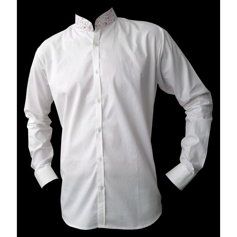 chemise homme blanche col mao imprim une chemise originale en coton blanc travaill avec des. Black Bedroom Furniture Sets. Home Design Ideas