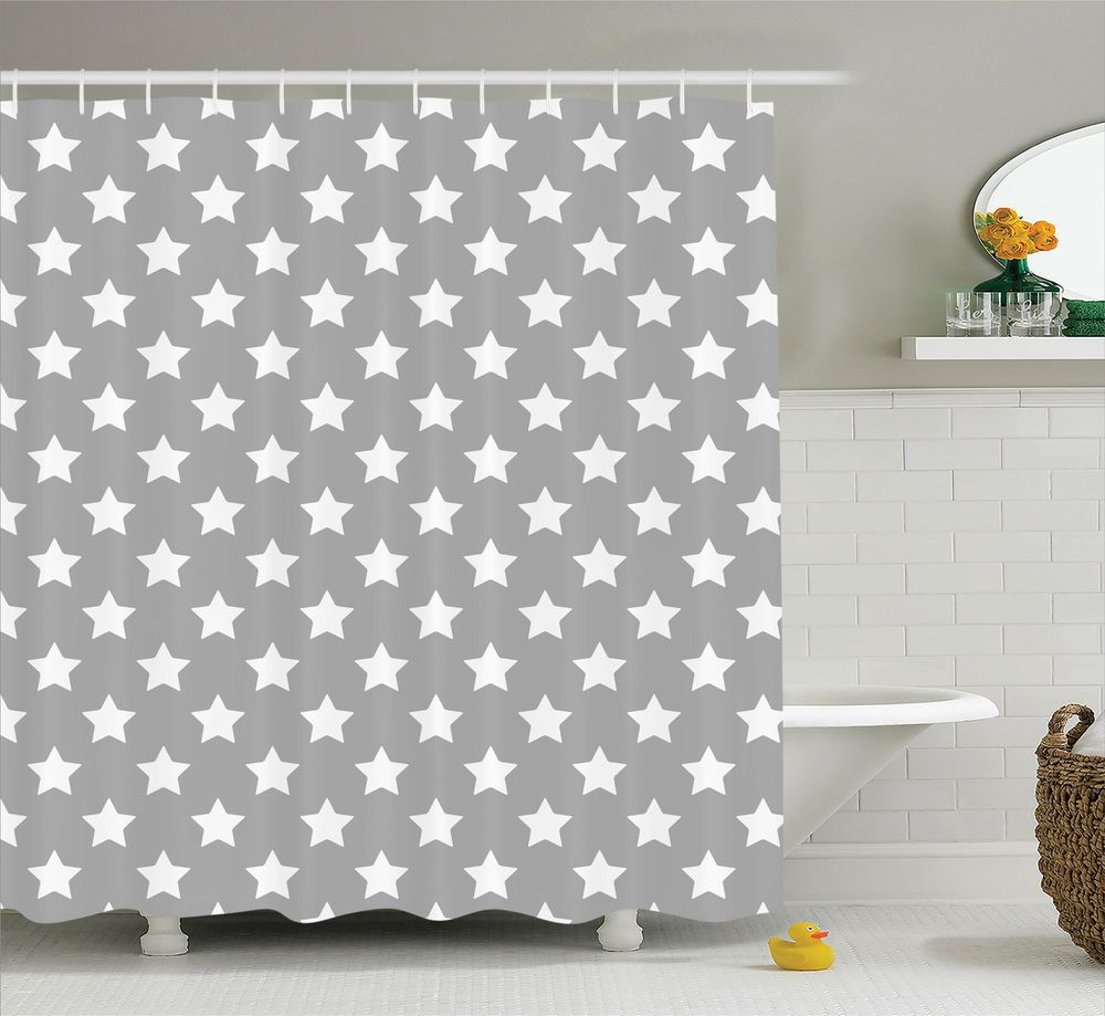 Details about modern shower curtain artwork with big stars print for