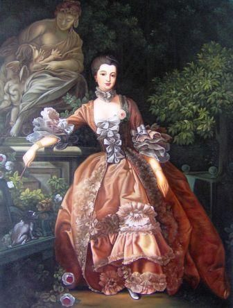 """Rococo style of painting by Francois Boucher titled """"Madame de Pompadour"""""""