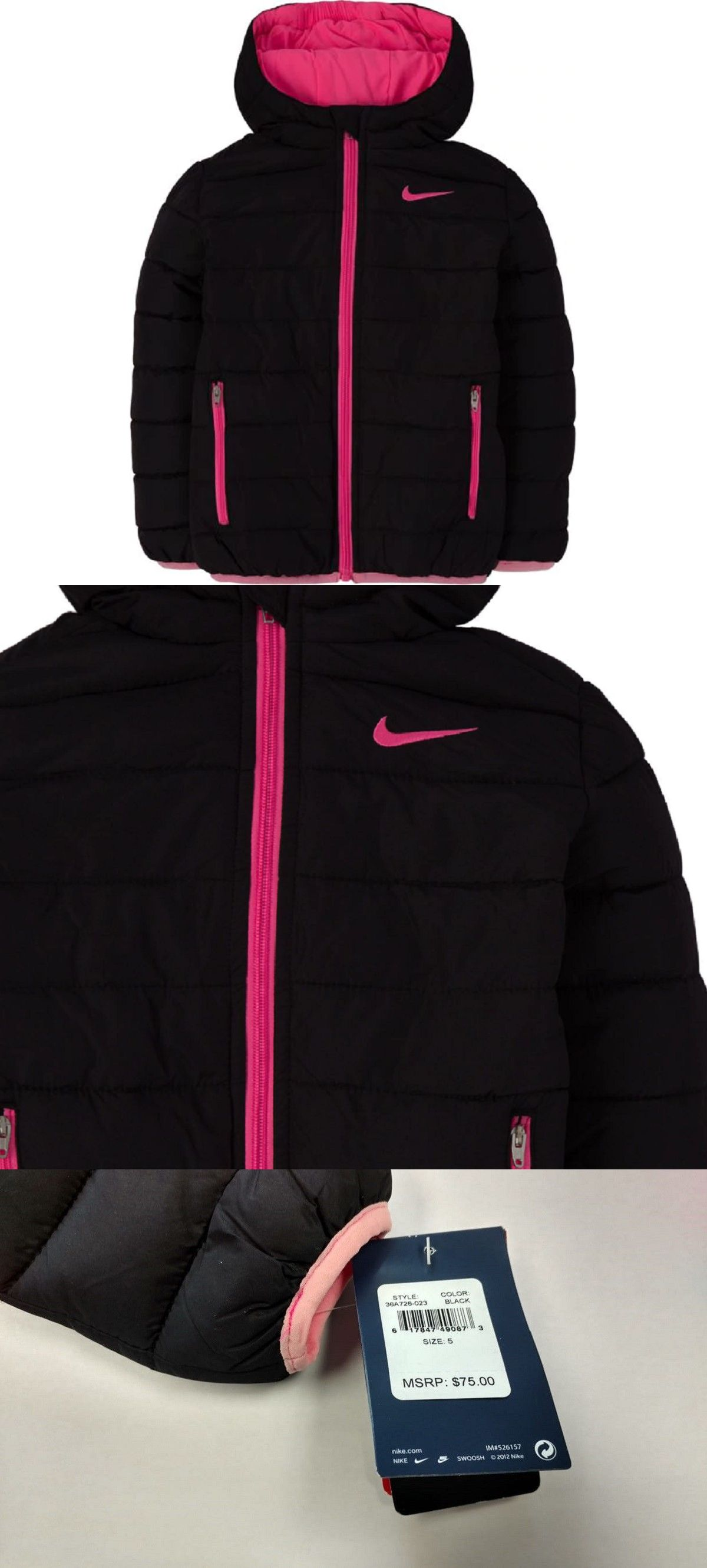 f06ce65ef29a Outerwear 51580  Nike Little Girl S Puffer Jacket Coat Outerwear - Black  Pink - Size