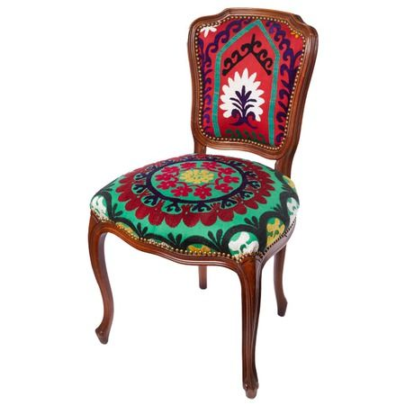 Karma Living.net - Antique dining chair with embroidered fabric