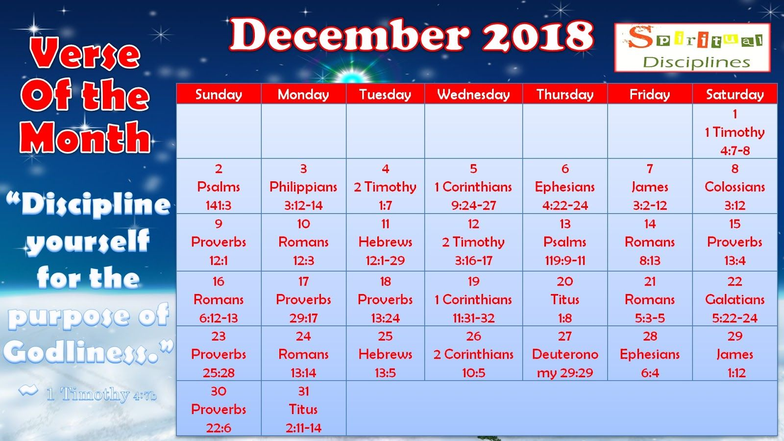 Godly Woman Daily Calendar December 2018 Printable Version