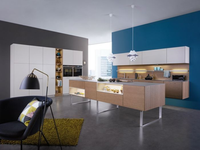wandgestaltung küche blaue und grau kombinieren | Wandgestaltung ...