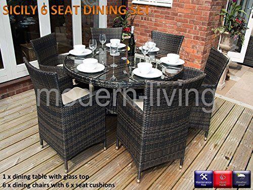 Sicily Round 6 Seat Rattan Garden Furniture Dining Set Price Β£499 ...