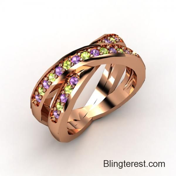 Multistone Anniversary Band in 18K Rose Gold Jewelry http