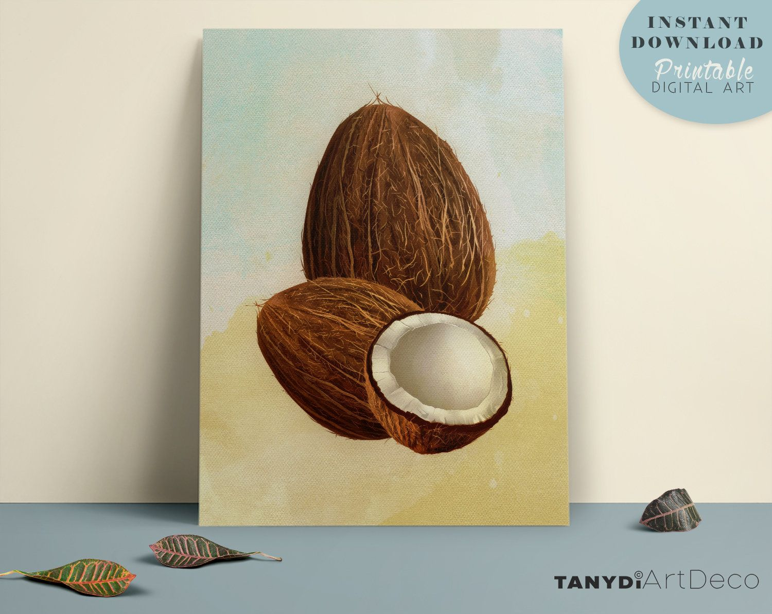 Art Painting Watercolor Tropical Coconuts Palm Tree Print Palm