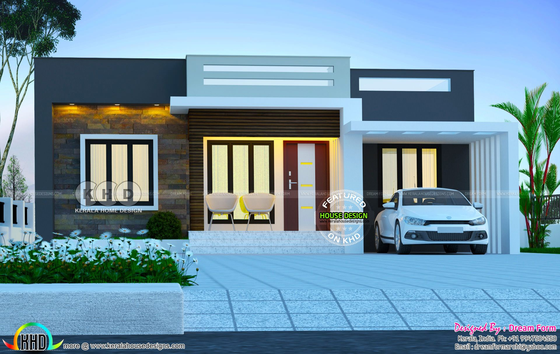 1200 Sq Ft Single Floor House September 2019 House Outer Design Village House Design Kerala House Design