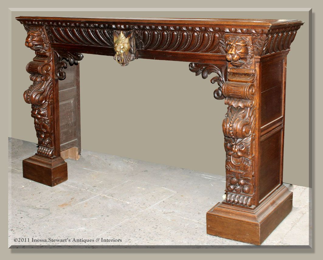 Antique French Renaissance Carved Fireplace Mantel, surround ...