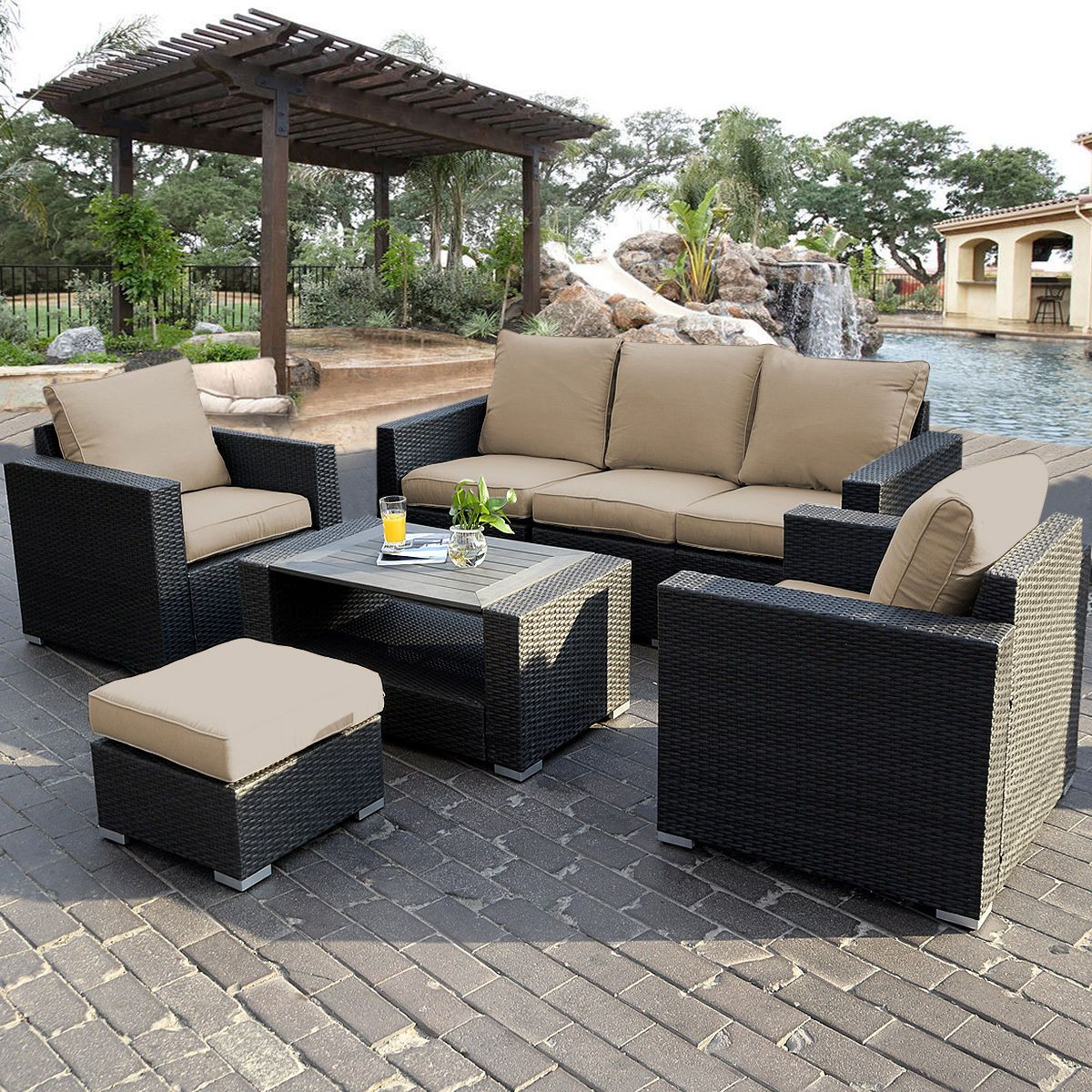 Best 7Pc Outdoor Patio Sectional Furniture Pe Wicker Rattan 400 x 300