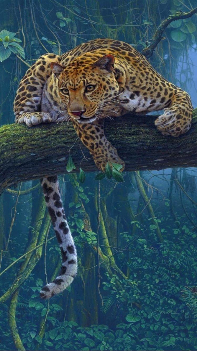 Jaguar iphone Wallpaper Животные, Разноцветные животные