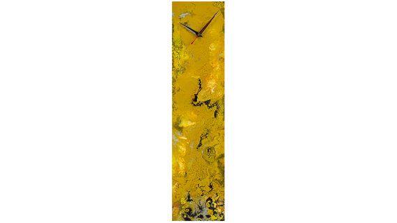 Amber Yellow Wall clock Glass Wall Art by ReformationsUK on Etsy ...