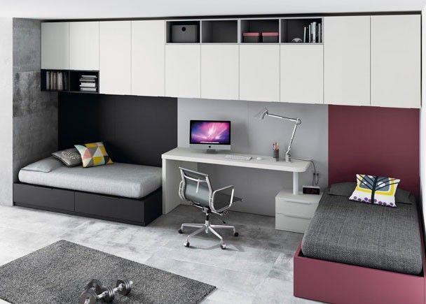 Dormitorio juvenil con 2 camas independientes, un escritorio y una ...