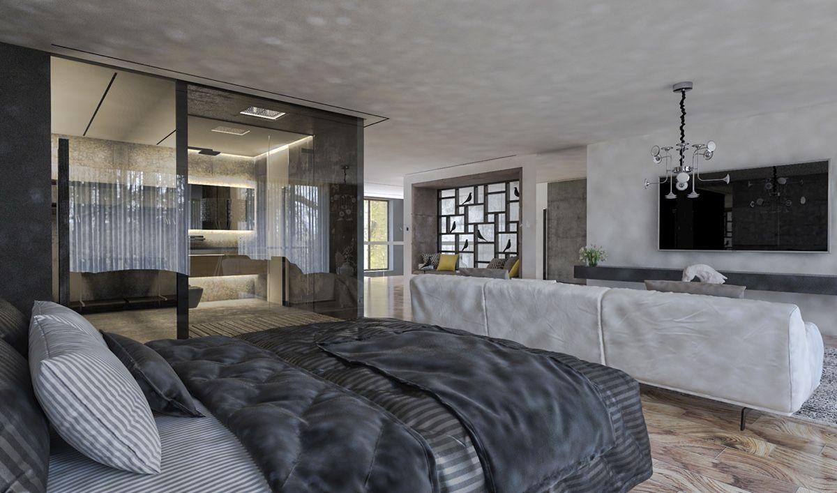 Charmantes Haus Design mit luxuriösen grauen Funktionen und ...
