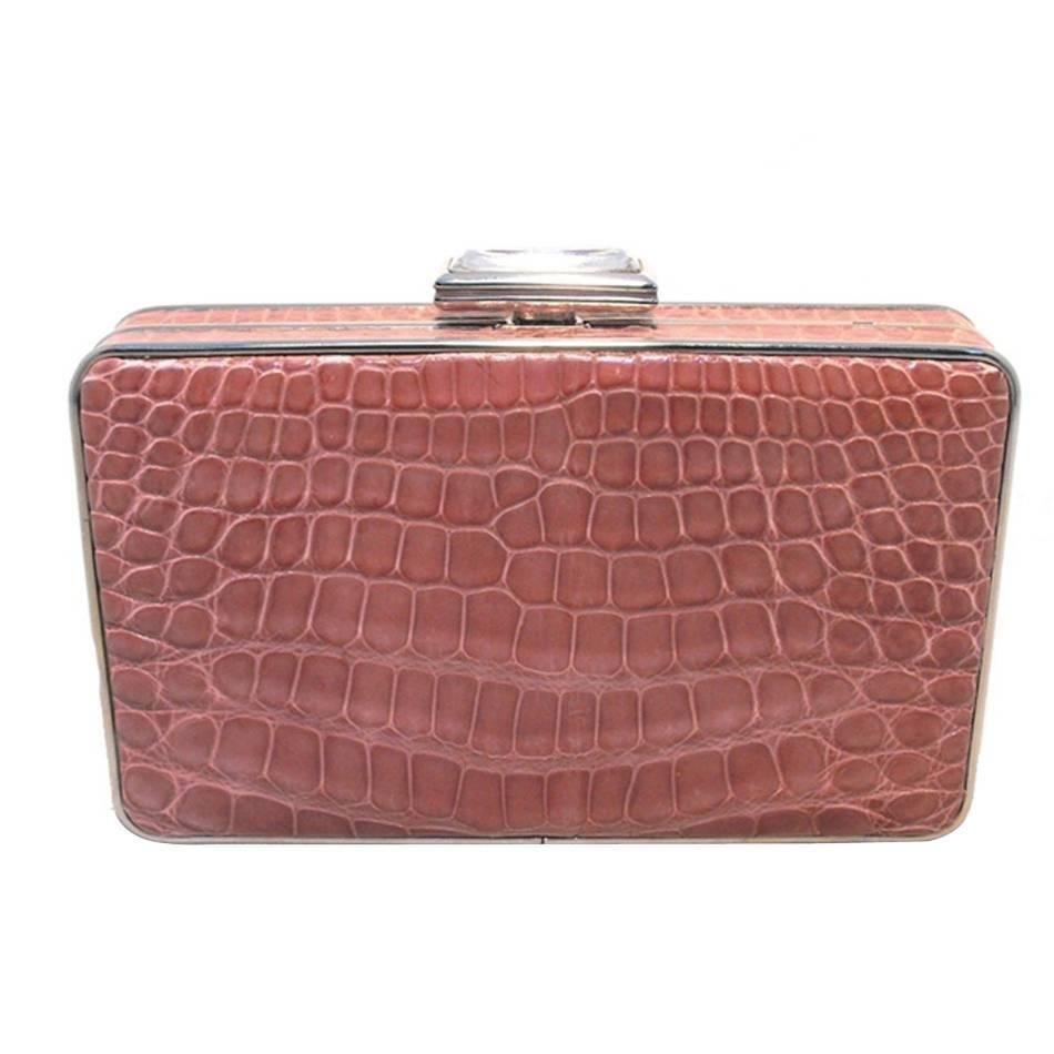 Judith Leiber Pink Alligator Box Clutch With Crystal Closure