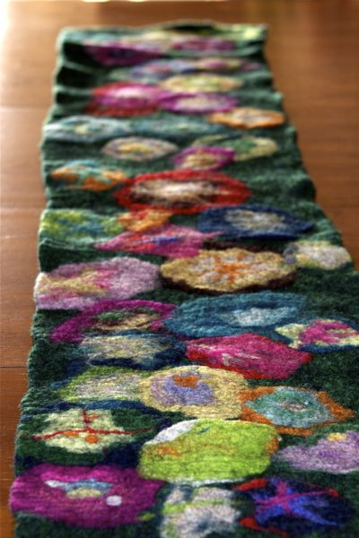 Felting Wet Felted Table Runner Waldorf Inspired Moms