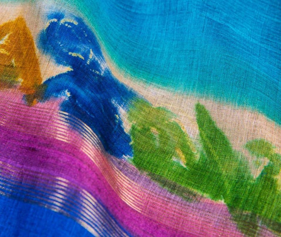 A closer view of tasar silk saree.