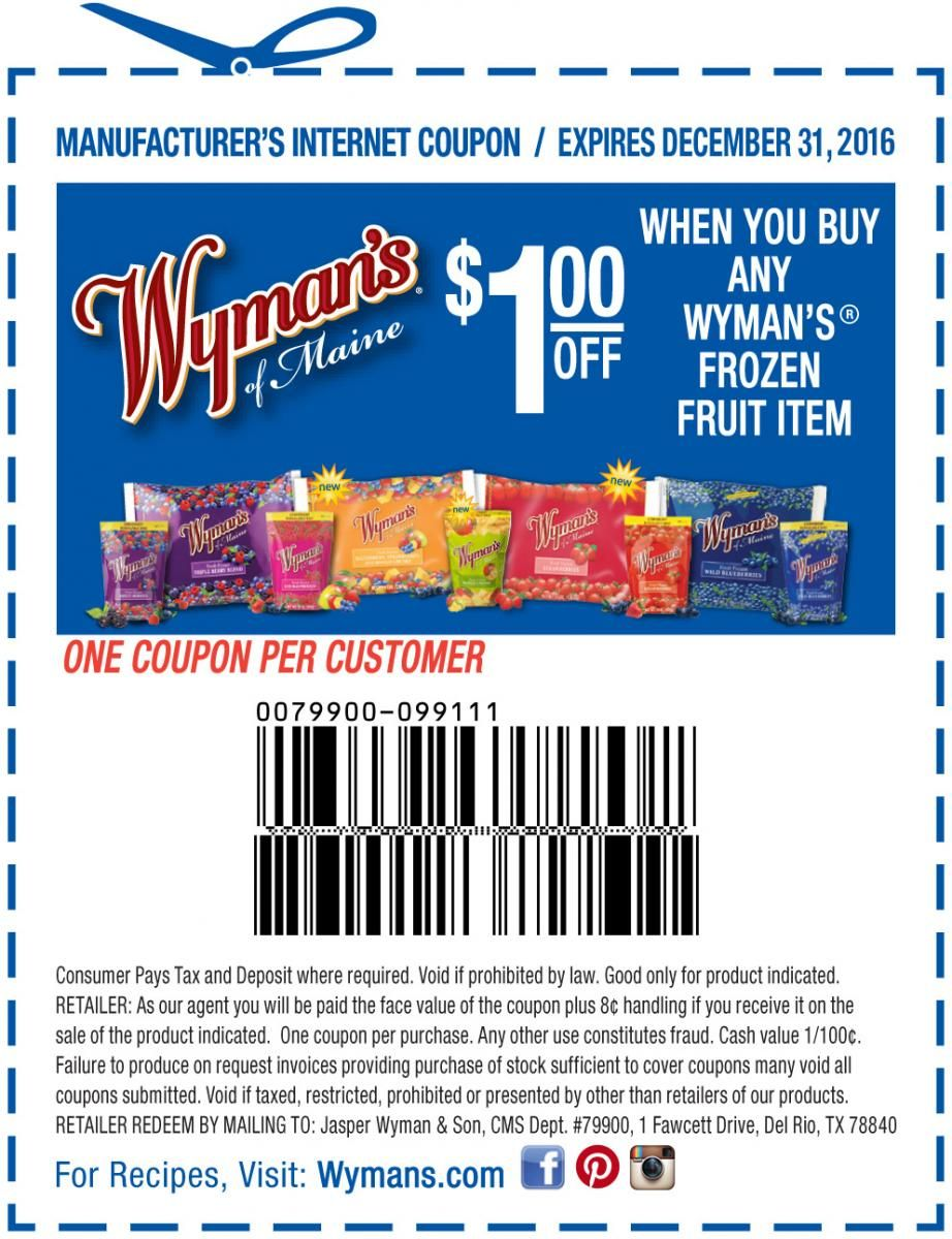 Wyman's Coupon Offer Coupons, coupons, Frozen fruit
