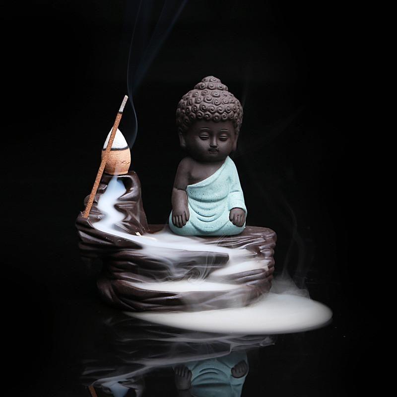 Little Buddha Monk Backflow Incense Burner V2 Small Buddha Statue Buddha Baby Buddha