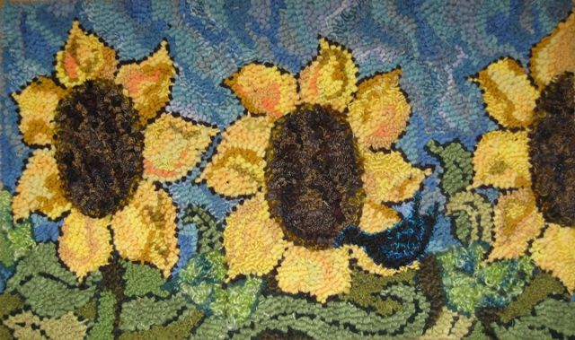 Hooking Rugs.com Online Courses sunflowers