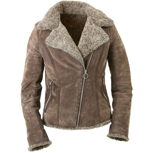 Jofama Mika Leather Suede Jacket - Light Brown found on Polyvore