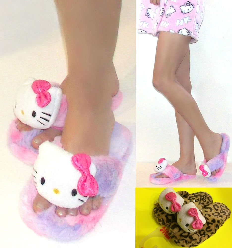 24517d2fb NWT Sanrio Hello Kitty Fluffy Thong Slippers For Women, 5/6, 7/8, 9/10, 2  colors #SanrioHelloKitty #ThongSlippers
