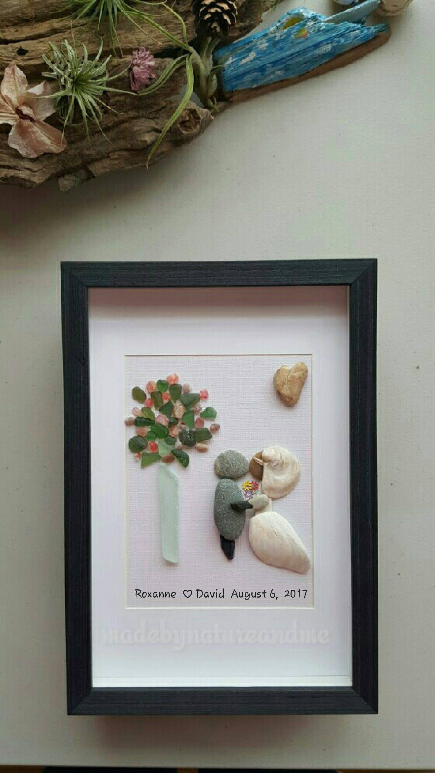 Mixed Media Wedding Gift Art Sea Gl Personalized Pebble Rock Shells By