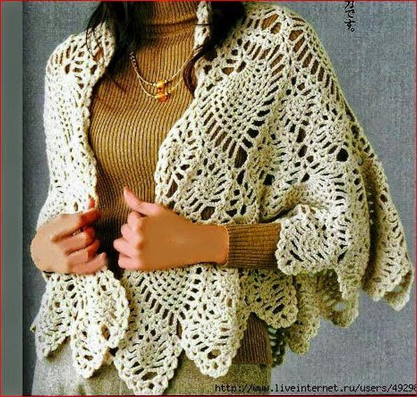 Patrones de poncho de dama al crochet punto piña | CROCHET ...