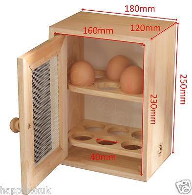 Wooden Egg Cupboard Cabinet Storage Rack Holder Chic Shabby Hevea ...