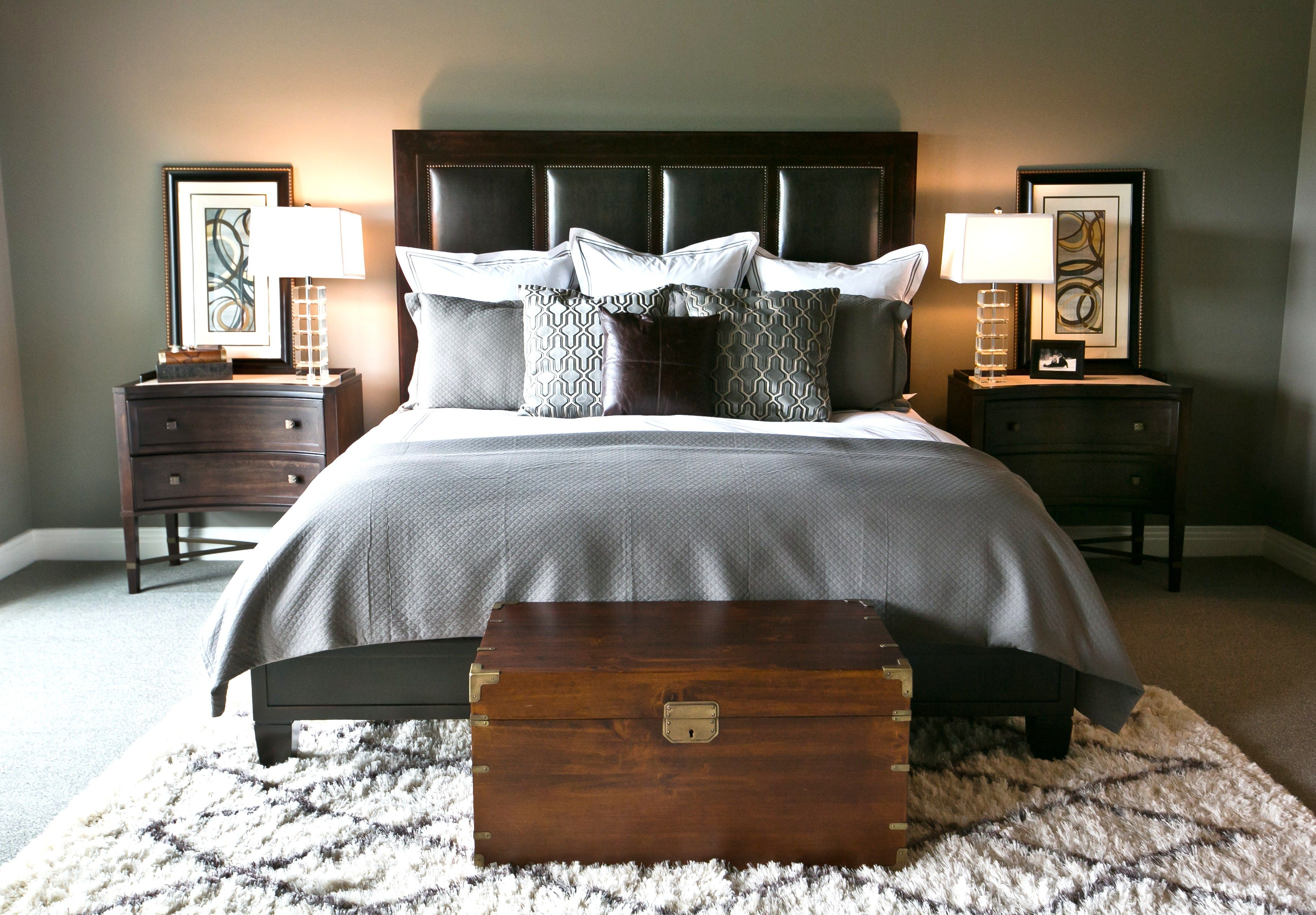 Robin Gonzales Interiors Masculine Bedroom Flokati Rug Home