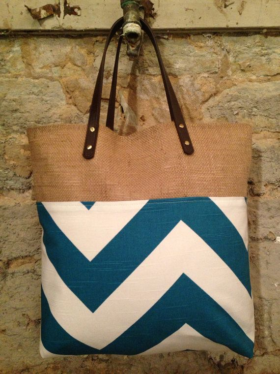 Peacock blue and white chevron and burlap tote