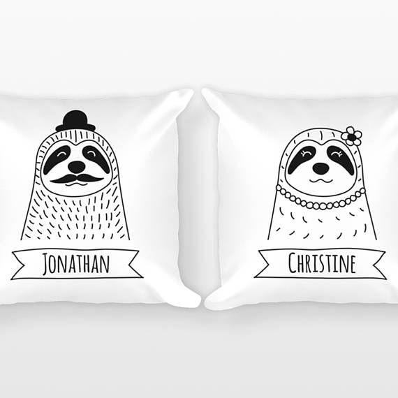 Personalisierte Faultier Paar Kissen Herr Und Frau Kissen Sloth