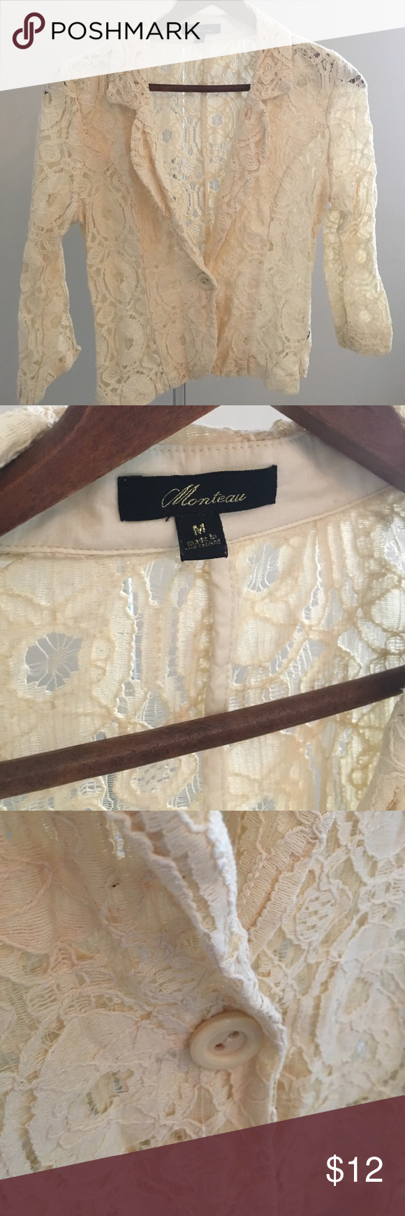 Creme Romantic Lace Blazer Such a timeless and beautiful piece! It's a Creme, waist long Romantic Lace Blazer. Fitted look. Perfect condition. Never used. Fits like a small. Monteau Jackets & Coats Blazers