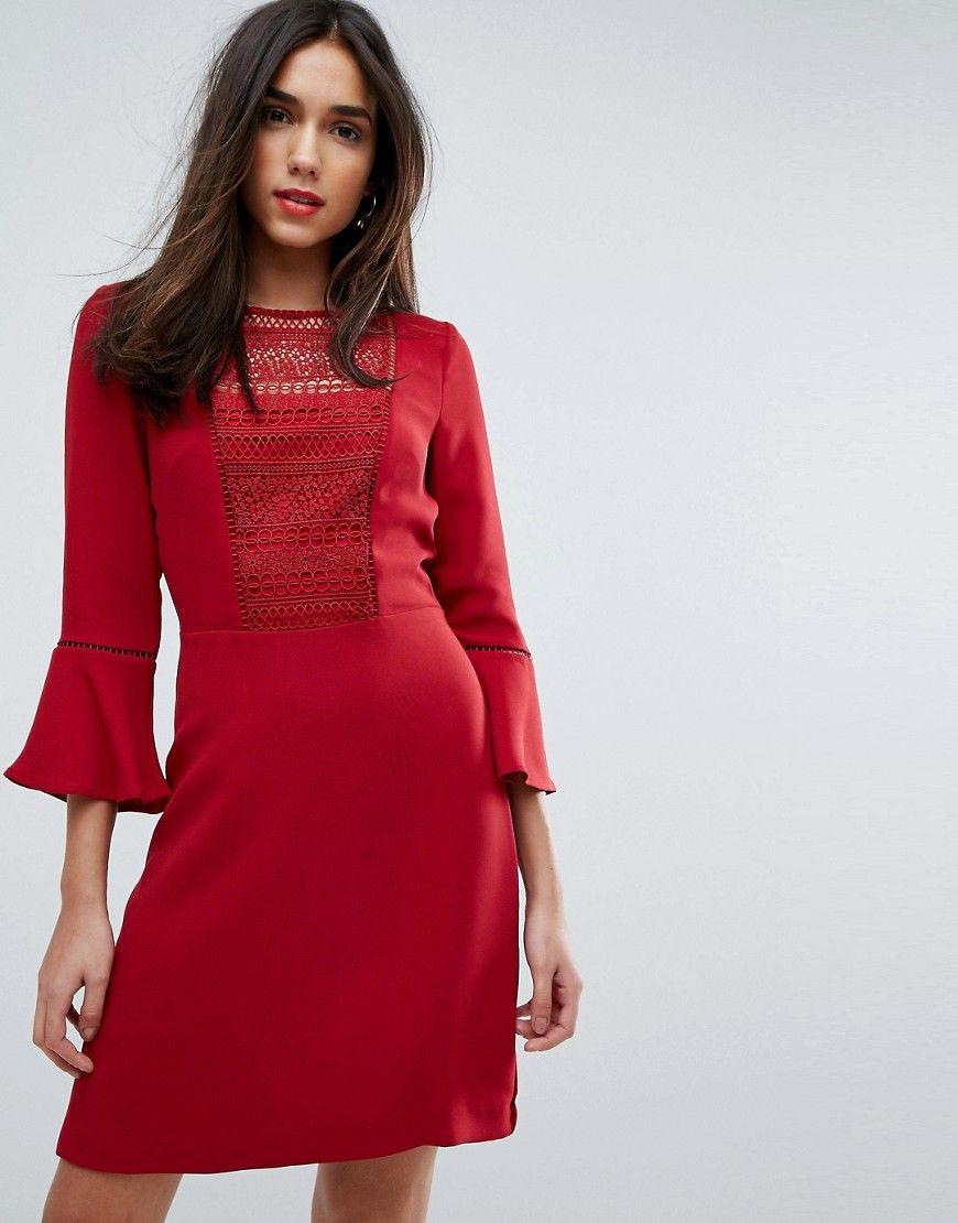 2eec3afebd3 Warehouse Crochet Bib Fluted Sleeve Skater Dress - Red