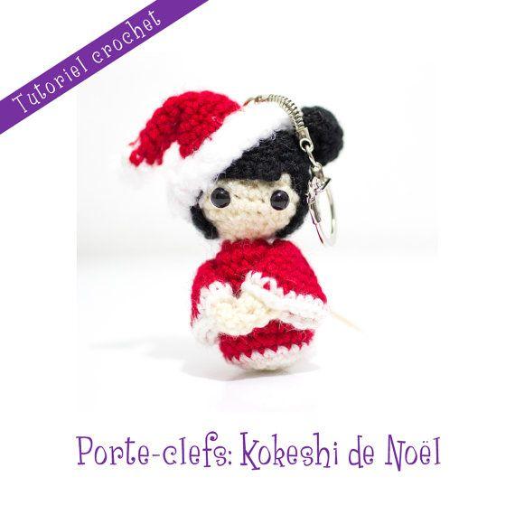 Tutoriel crochet: kokeshi de Noël en by LeRoyaumeDesEpingles