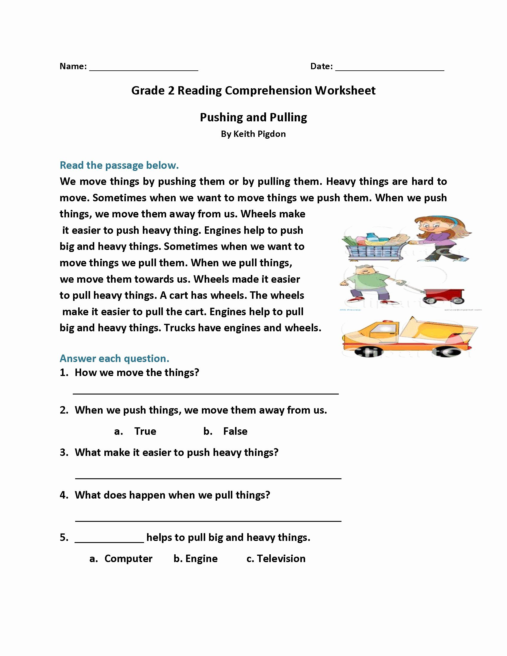 Grade 2 Reading Comprehension Use These Free Printable
