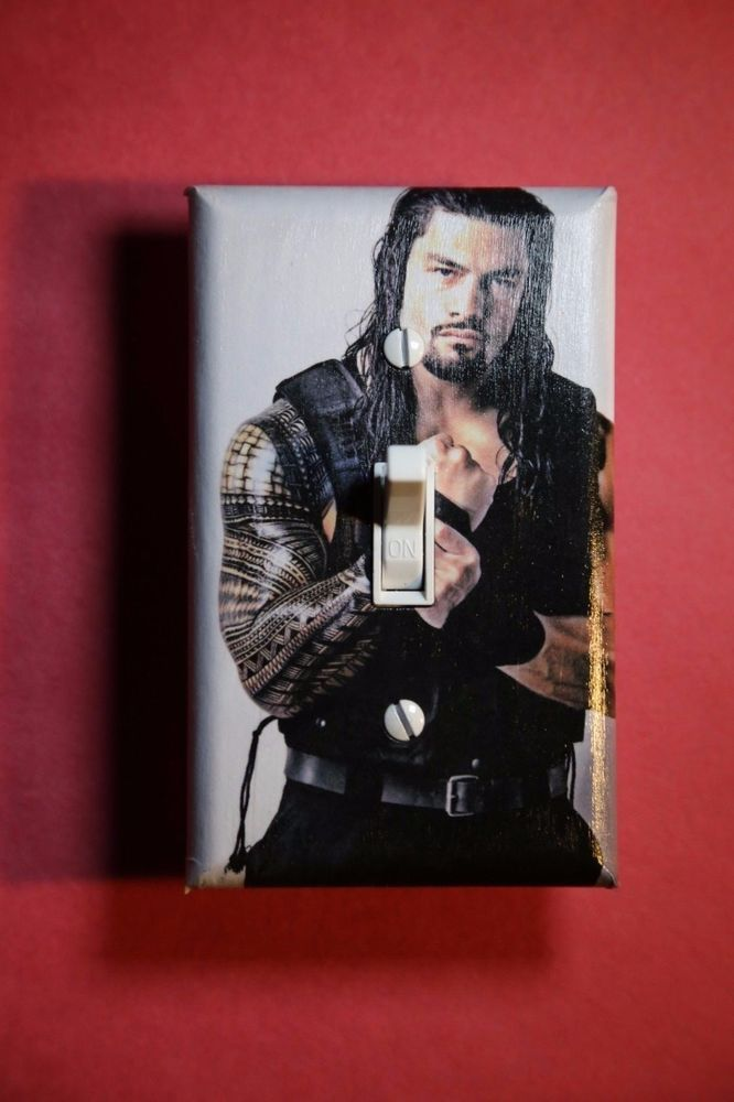 roman reigns wwe light switch cover wrestling boys girls bedroom room decor wwf. beautiful ideas. Home Design Ideas