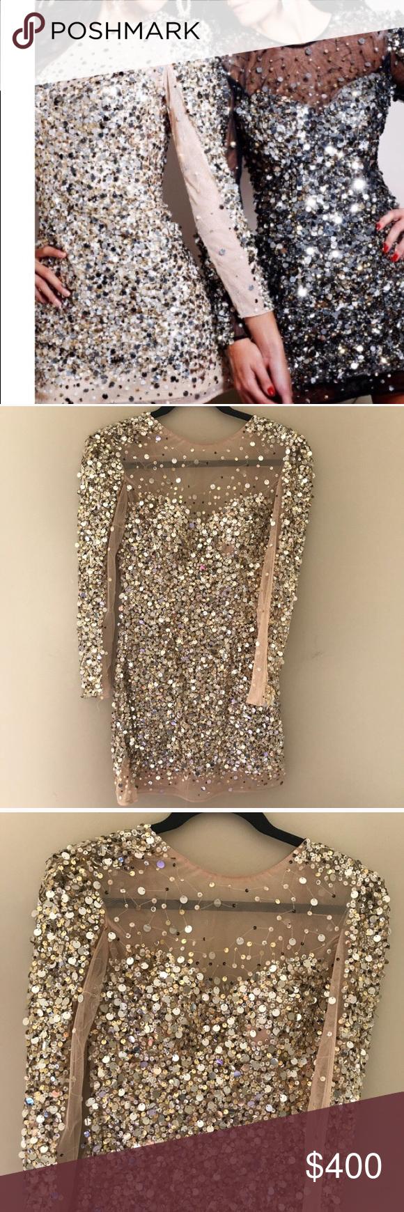 Sherri hill long sleeve sequin dress my posh picks pinterest
