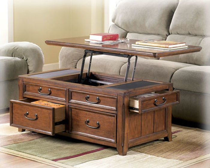 Coffee Table W Lift Top Trunk Flip Up Storage Drawers Wood Cocktail Tables  Desk Photo Gallery