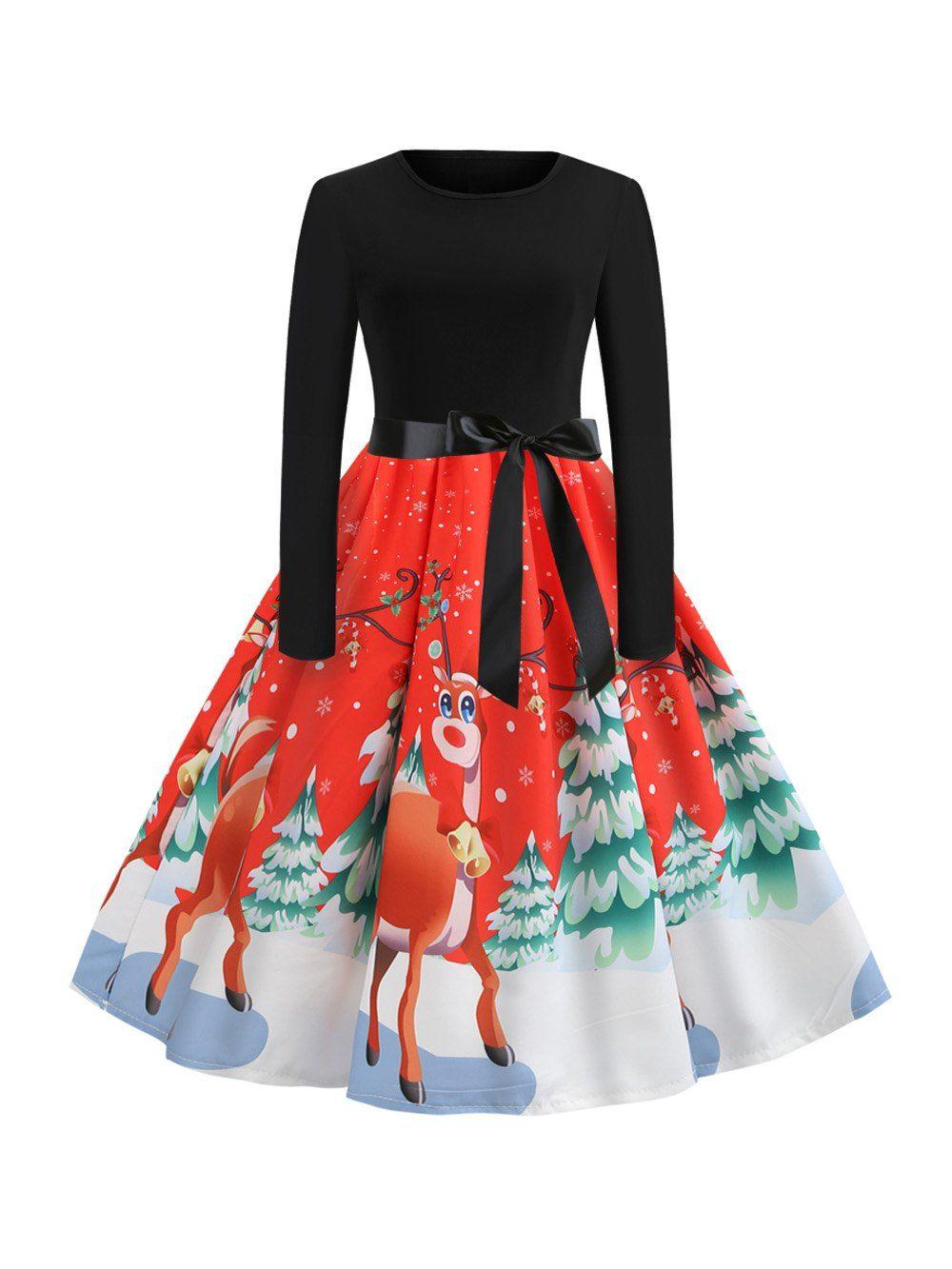 f508e88e82 Wholesale Hepburn Vintage Series Women Dress Spring And Winter Round Neck  Christmas Deer Printing Design Long