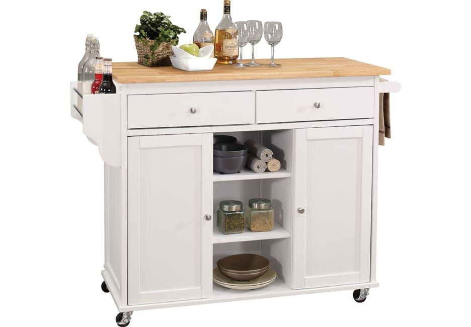 Brodrick White Kitchen Island Kitchen Cart White Kitchen Island Mobile Kitchen Island