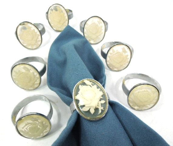 * Estate Sale, Napkin Rings * White large roses * Set of 8 * Stainless steel silver rings  in a surface ground finish   vintage   home decor   tableware   etsy   napkin rings