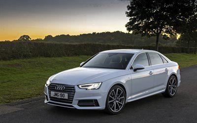 Download Wallpapers Audi A4 2017 White A4 Sedan German Cars Audi Besthqwallpapers Com Luxury Cars Audi Audi Sedan New Luxury Cars