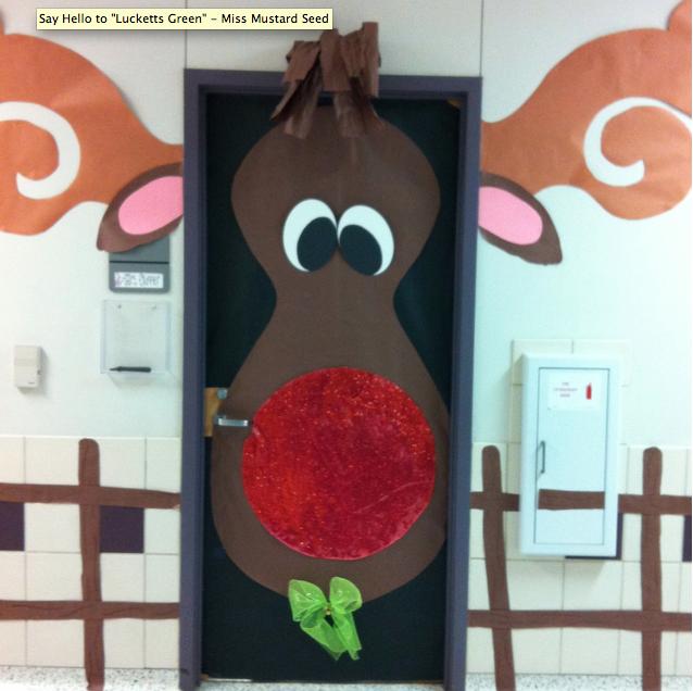 Gingerbread Door Decorating Ideas Reindeer Door From