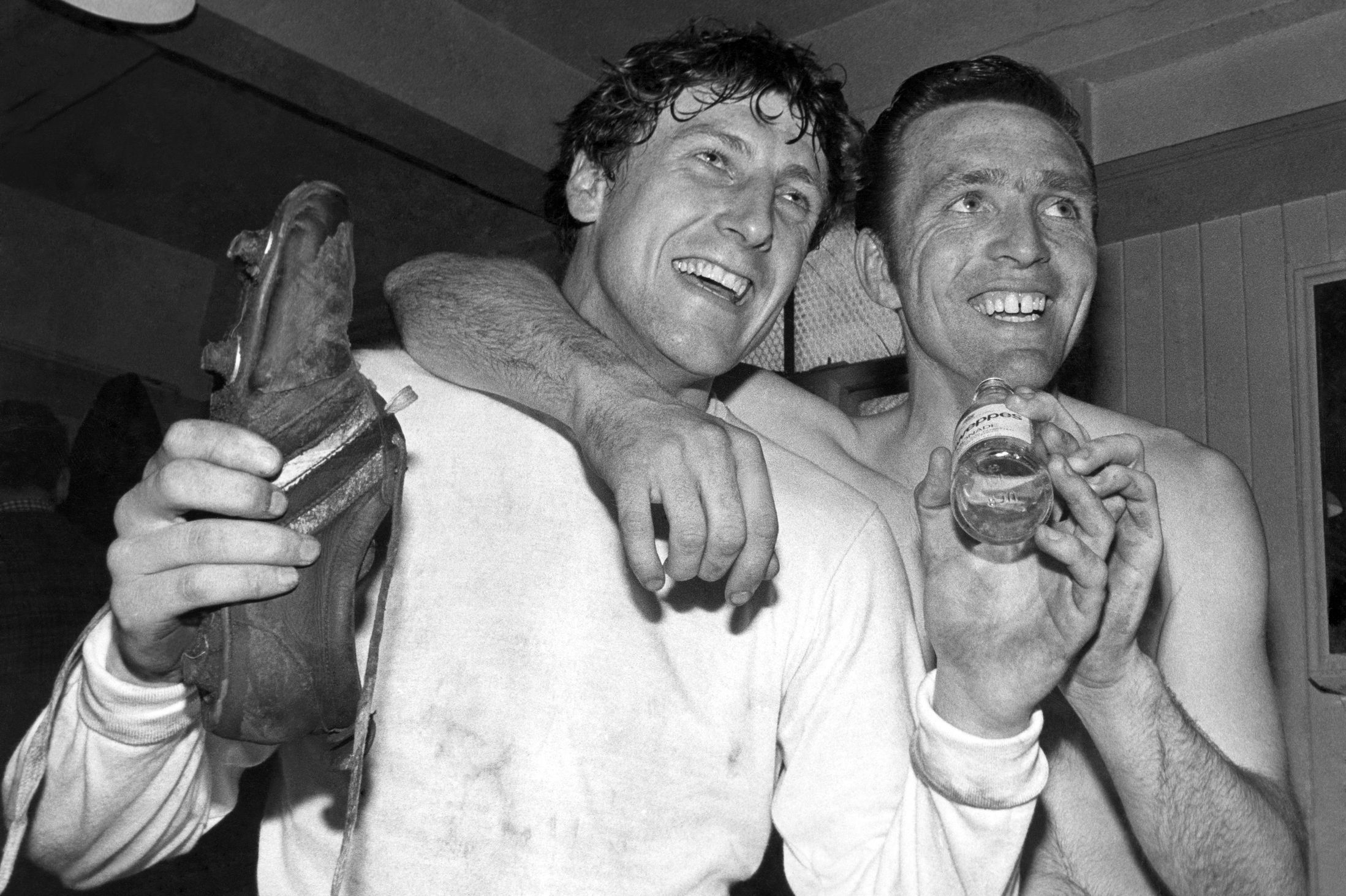Tony Brown And Jeff Astles Celebrations Begin As Albion Defeat Birmingham City In The 1968 FA Cup Semi Final