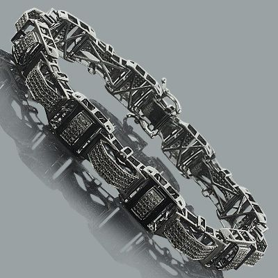 This Mens Black Diamond Bracelet in sterling silver weighs