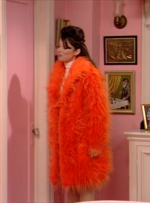 Fran Drescher's 90s Style Orange Fur Coat As Seen on The Nanny // More Style Inspiration Ideas To Steal from The Nanny: (http://www.racked.com/2015/10/22/9586048/the-nanny-fran-drescher-style)