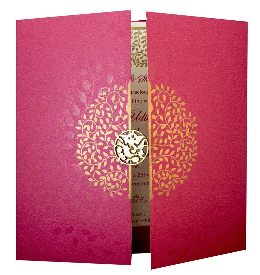Invite in Pink with a Gate fold and Laser cut Ganesha | mindenes ...