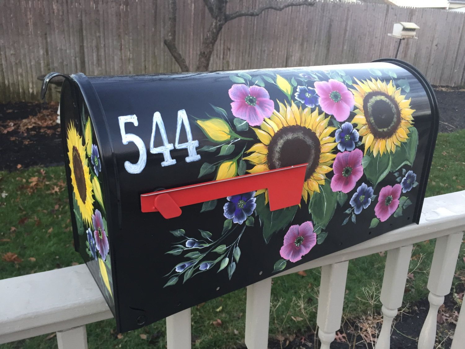 hand painted mailbox designs. Hand Painted Mailbox,custom Mailbox, Sunflower Yellow Flowers, Pink Flower Mailbox Designs X