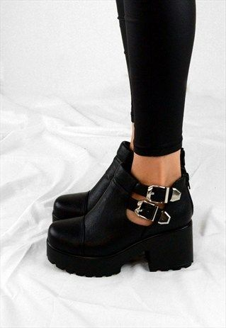 4cae8e7d63bb FAITH Chunky Heel Cut Out Grip Platform Buckle Ankle Boots ...