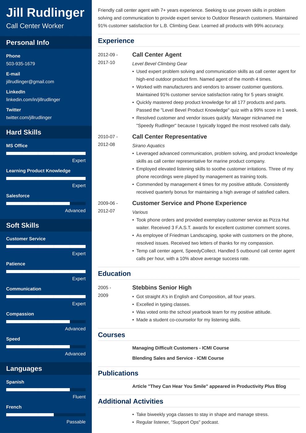 call center resume template cascade in 2020 Resume